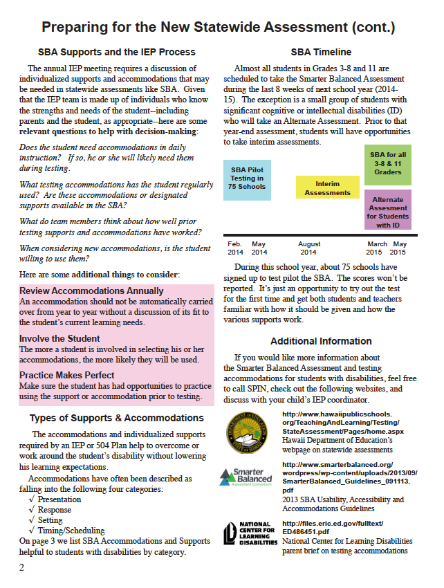 Smarter, Balanced Assessments – Special Parent Information Network