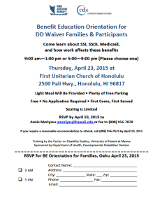 Benefit Education Orientation for DD Waiver Families and Participants