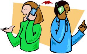 2 people talking on phone