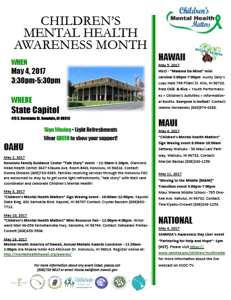 children�s mental health awareness month sign waving