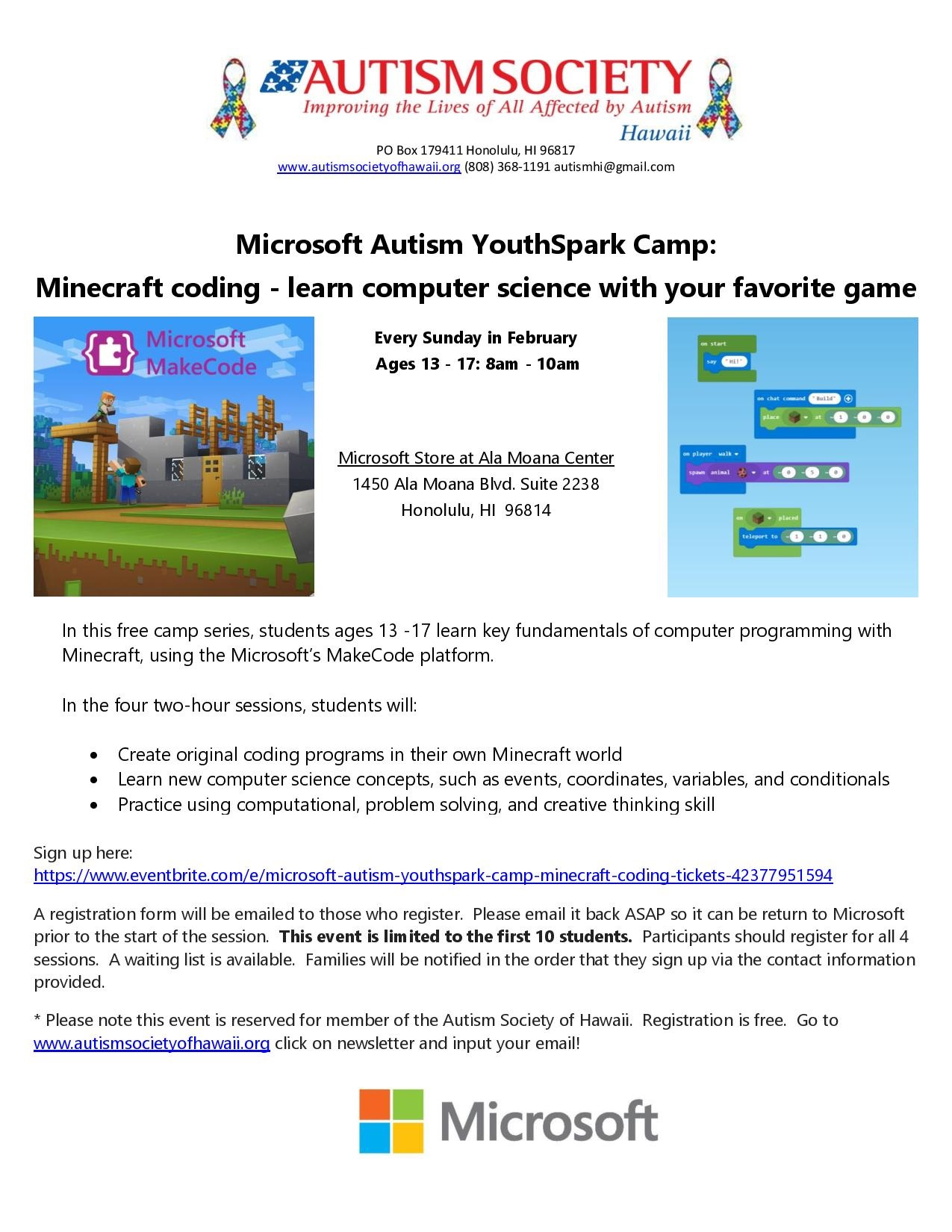 Microsoft Autism YouthSpark Camp